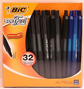 BIC Soft Feel Retractable Ball Point Pen, Medium Point, Assorted Ink, Pack of 32