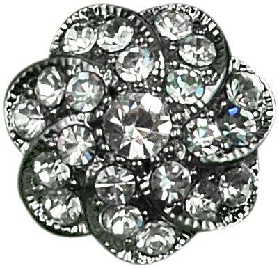 Expo Swirl Flower Rhinestone Button