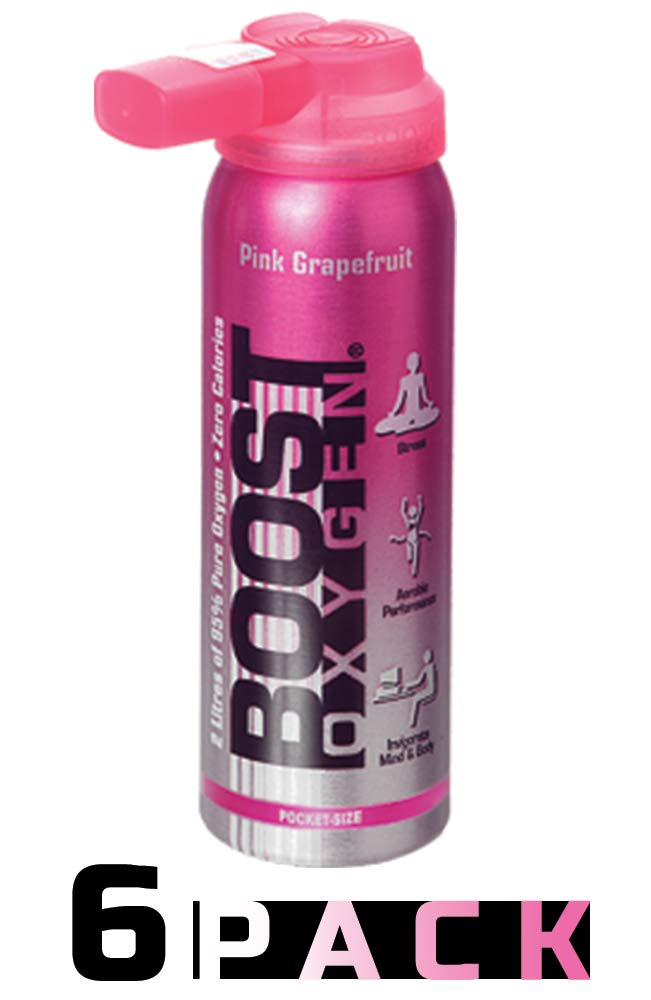 95% Pure Pocket Sized Oxygen Supplement, Portable Canister of Clean Oxygen, Increases Endurance, Recovery, Mental Acuity and Performance (2 Liter Canisters, 6 Pack, Pink Grapefruit)
