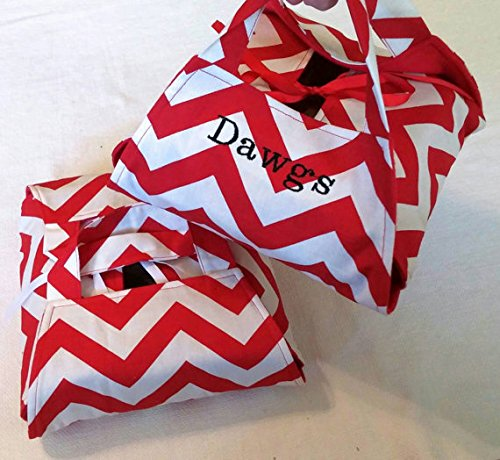 Red Chevron 8x8 Dish Tote - Can be Monogrammed, Made in USA, ZigZag Stripe