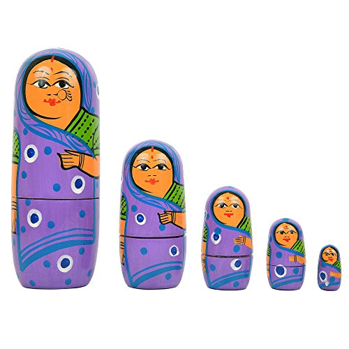 - Fine Craft India Set Of 5 Piece Hand Paints Matryoshka Traditional Russian Nesting Stacking Wooden Nested Purple Dolls Christmas