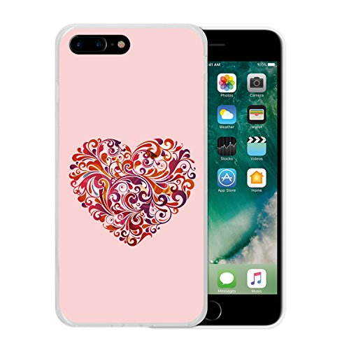 iPhone 8 Plus Hülle, WoowCase Handyhülle Silikon für [ iPhone 8 Plus ] Abstraktes blumiges Herz Handytasche Handy Cover Case Schutzhülle Flexible TPU - Transparent