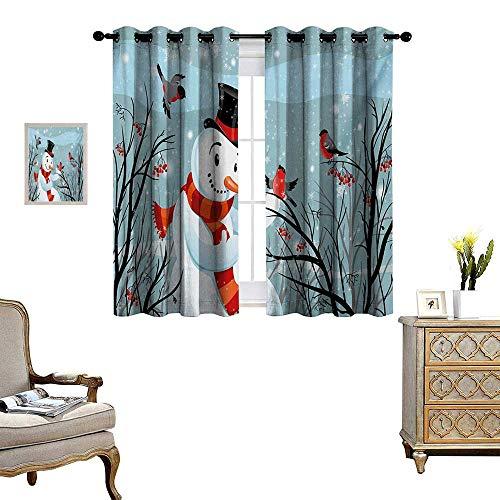 Christmas Patterned Drape for Glass Door Snowy Winter Tree Branches Berries Bullfinch Birds Snowman Hat Waterproof Window Curtain W55 x L63 Almond Green Black Orange
