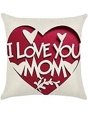 Tinksky I Love You MOM Funda de Almohada Funda de Lino Funda de cojín para el Regalo de la Madre Decoración del hogar 45 x 45 cm