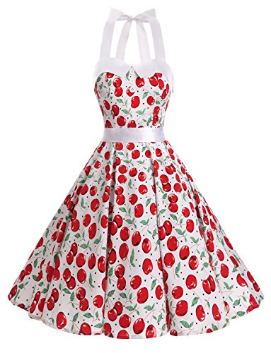 Dressystar Vintage Polka Dot Retro Cocktail Prom Dresses 50's 60's Rockabilly Bandage Cherry2 XXL]()