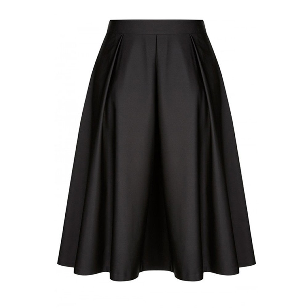 Women Vintage Pleated High Waist A-Line Flare Skirt Ruffled Cocktail Party Midi Swing Skirt (Black, XL)