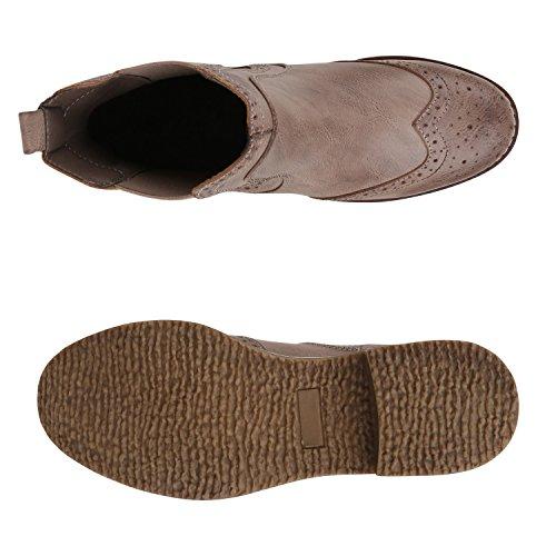 Stiefelparadies Damen Stiefeletten Chelsea Boots Zipper Leder-Optik Schuhe Nieten Metallic Lack Glitzer Blockabsatz Booties Profilsohle Flandell Khaki Camiri