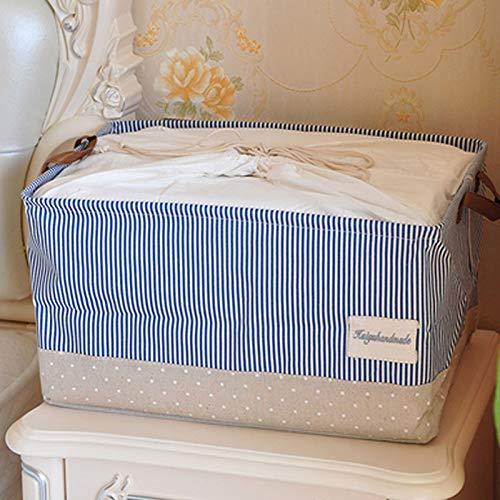 PING.FUE Cloth Simple Style Cotton Linen Desktop Bundle Bag Sundries Box Cabinet Underwear Storage Basket XL -