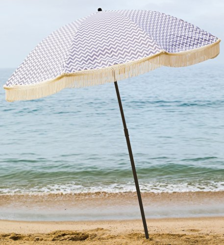 Beach Umbrella, Regatta with Fringe, Designed by Beach Brella / 100% UV Sun Protection, Lightweight, Portable & easy to setup in the Sand and secure in the Wind (Brella Lights)