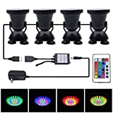 Submersible LED Aquarium Spotlight, Motent 36 Leds 2.7 inches Dia Waterproof 24 Keys Remote Control RGB Color Light Underwater Landscape lamp for Fountain Garden Pool Pond Rockery Yard - Set of 3