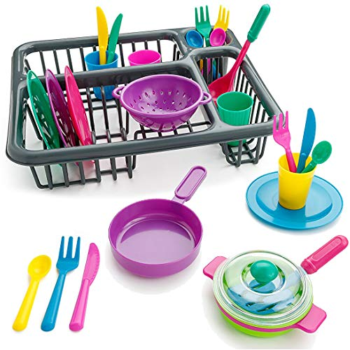 Liberty Imports Kids Pretend Play Dishes Kitchen Playset | Wash & Dry Tableware Dish Rack Toy with Drainer (28 Pieces) (Classic)
