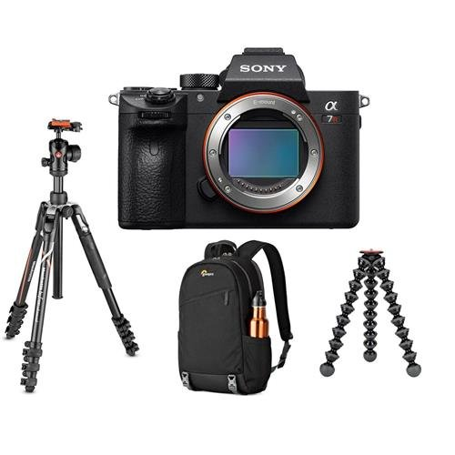 Sony a7R III Mirrorless Digital Camera Body - Bundle with Manfrotto Befree Advanced 4-Section Tripod with Ballhead, Joby GorillaPod 5K Stand, Black Lowepro m-Trekker BP 150 Backpack Nylon Black