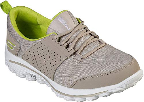 Skechers Women's Go Walk 2 Sugar Relaxed Fit Golf Shoe, Taupe/Lime 9 M US by Skechers