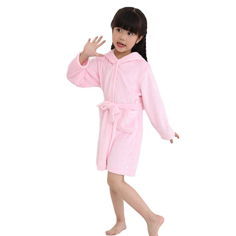 Kailya Kids Unicorn Bathrobe Hooded Animal Bathrobe Soft Flannel Sleepwear Dressing Gown