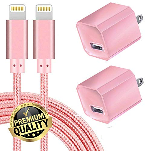 Boost Chargers 5W USB Power Adapter Wall Charger 1A Cube for Plug Outlet w/ 6FT/2M Nylon Braided Sync & Charger Cord Compatible for iPhone 8 / X / 7 / - Pink Chargers Iphone
