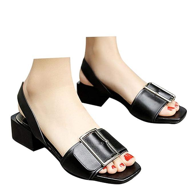 087c0c61ef405 Amazon.com: Veodhekai Womens Low Heel Wedge Sandals Wild Buckle ...