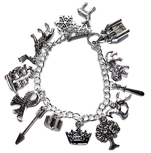 Chronicles of Narnia Themed Silvertone Charm Bracelet w/ Toggle Clasp