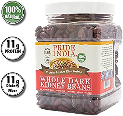 Pride Of India - Whole Dark Kidney Beans - Contains 3 lbs (1360 gm) Jar - Se utiliza mejor en tacos, ensaladas, curry, arroz hervido, etc., bajo en ...