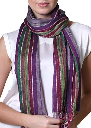 Women's Jewel Shimmer Multicolor Stripe Scarf, Metallic Pashmina Shawl (Purple Dazzle)