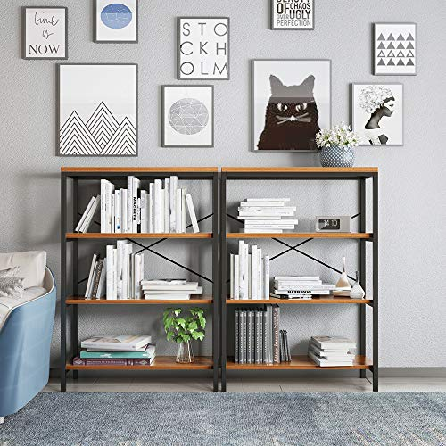 3-Shelf Industrial Bookshelf, Wood and Metal Bookcase, Open Wide Home Office Book Shelf Free Vintage Standing Storage Shelf Units