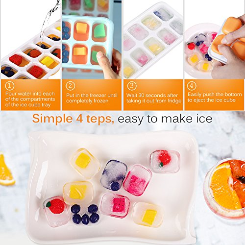 Kootek 4 Pack Silicone Ice Cube Trays with Lid, 14-Ice Trays BPA Free Ice Cube Molds Easy Release Flexible FDA Approved Trays for Chill Drinks Whiskey Cocktail, Dishwasher Safe and Stackable Durable
