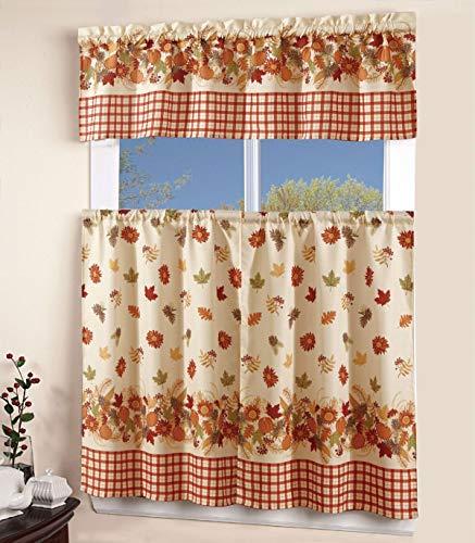3 Piece Kitchen Curtain Linen Set with 2 Tiers 27″ W (Total Width 54″) x 36″ L and 1 Tailored Valance 54″ W x 15″ L, Orange Yellow Green Pumpkin Autumn Season Leaf Design Kitchen Curtain Décor Linen