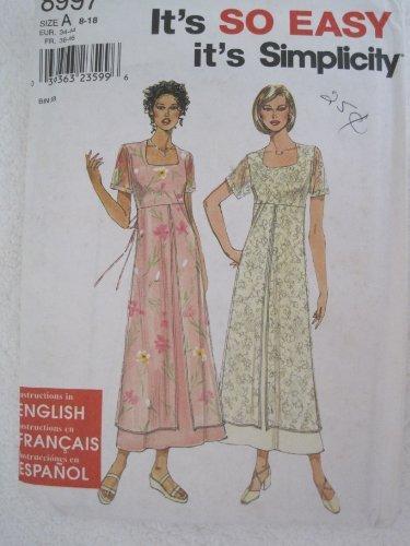Simplicity Pattern 8997 Misses'/Miss Petite Dress Sizes 8-18 (Dress Waist Pattern)