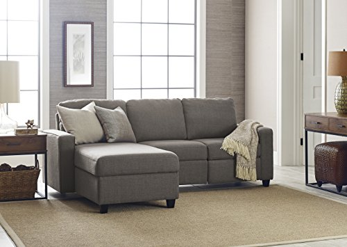 Serta Palisades Reclining Sectional with Left Storage Chaise - Moonlight Gray