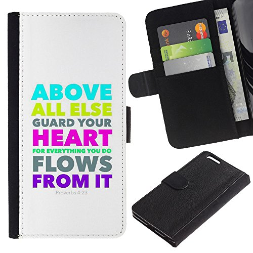 OMEGA Case / Apple Iphone 6 PLUS 5.5 / PROVERBS 4:23 ABOVE ALL ELSE GUARD YOUR HEART / Cuir PU Portefeuille Coverture Shell Armure Coque Coq Cas Etui Housse Case Cover Wallet Credit Card