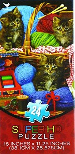 24 piece Knitting Kittens Jigsaw Cardinal