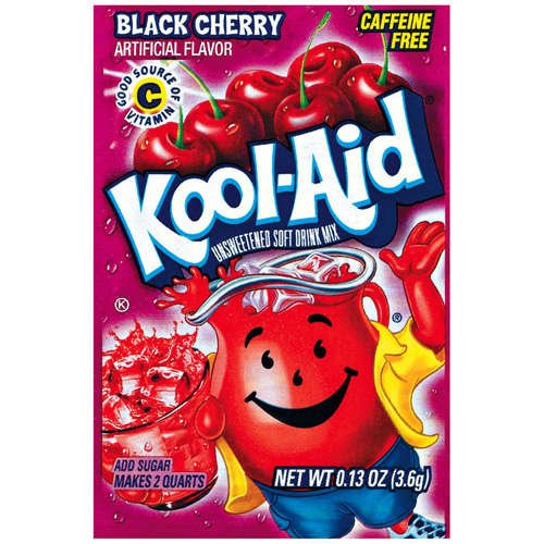 Kool-Aid Black Cherry Unsweetened Soft Drink Mix, 0.13 Oz (Bonus Pack of 50 Packets) (Ounce Pack 0.13)