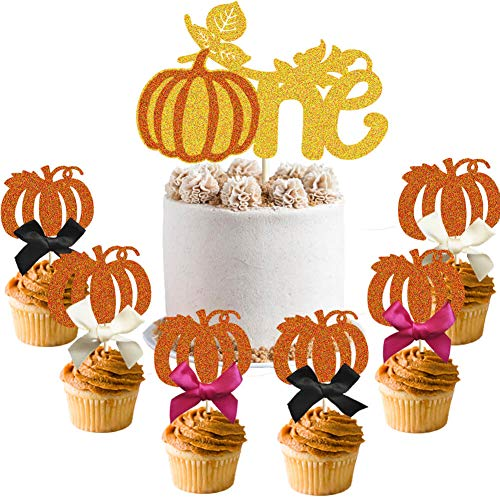 Halloween Pumpkin Cupcake Cake (Pumpkin One Cake Topper, Little Pumpkin Cupcake Topper, Thanksgiving Halloween Autumn Fall Pumpkin Theme 1st Birthday Party Cake Supplies)