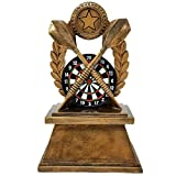 Decade Awards Gold Darts Trophy | 7 Inch Tall Colored Dart Board Award - Engraved Plate on Request