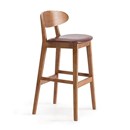 Amazon.com: ZfgG Solid Wood bar Chairs, Creative bar stools Back bar ...