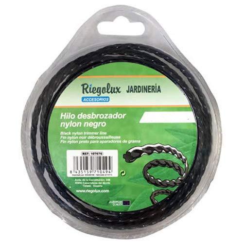 Riegolux 107679 Hilo Desbrozadora Nylon Helicoidal, Negro, 4 mm x ...