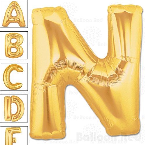 40 Inch Giant Jumbo Helium Foil Mylar Balloons for Party Decorations (Premium Quality), Matte Gold, Letter N