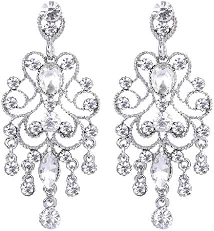 BriLove Women's Vintaged Style Bridal Crystal Drop Chandelier Filigree Dangle Earrings