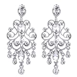 BriLove Women's Vintaged Style Bridal Crystal Drop Chandelier Filigree Dangle Earrings