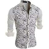 jeansian Men's Vintage Floral Pattern Long Sleeves Dress Shirts 84A2