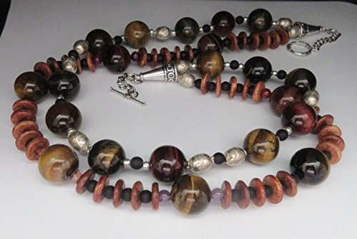 Tiger Eyes Beads, natural stones, Wood Roundels, Ghana beads and black Agate Necklace, hand beaded, hand strung, two strands by TreAssure (Strung Strand)
