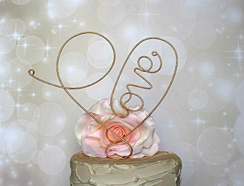 LOVE HEART Wedding Cake Topper in CHAMPAGNE GOLD Finish Special Events Decoration
