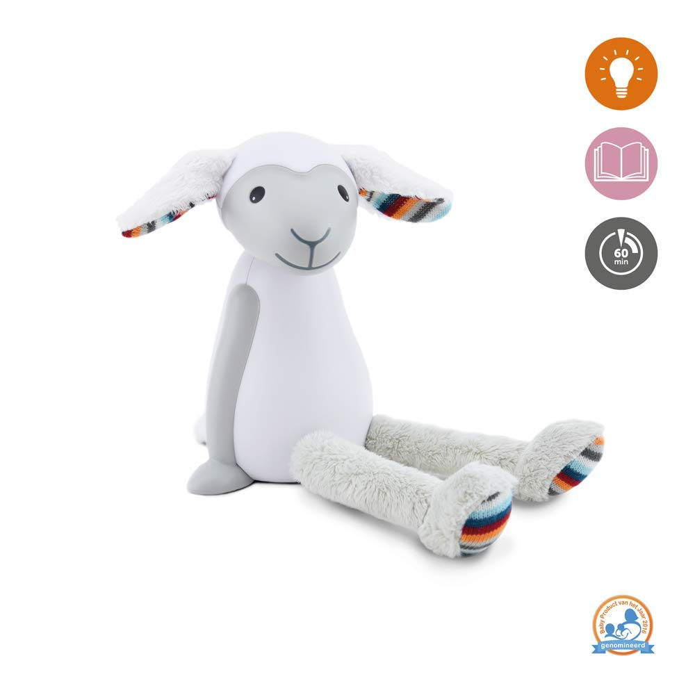 Kids Portable Reading Night Light Toy - Grey Bedside Reading Lamp, Auto Shut-Off, Adjustable Brightness, Cordless - Fin The Sheep by Zazu Kids
