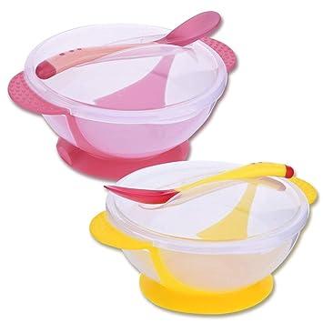 Tazón para bebé - WENTS 2 PCS Tazón con Ventosa para Bebé con la detección de la temperatura PP Material Comestible sin BPA, Anti-caliente