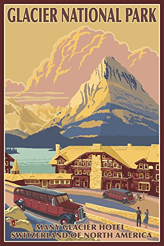 Many Glacier Hotel   Glacier National Park  12X18 Art Print  Wall Decor Travel Poster