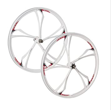 "e31aea356bf pofeng Mountain Bike wheelset 26 Cassette Magnesium Alloy Wheels 26"" Bicycle  Rims (White,"