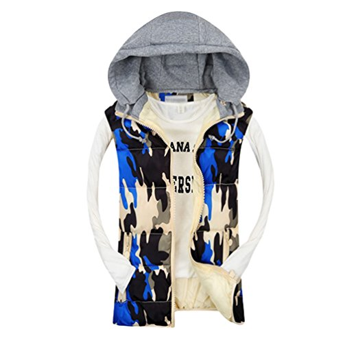 Yiiquan Unisex Casual Camouflage Hooded Gilet Jacket Slim Fit Quilted Warm Vest Sapphire Blue