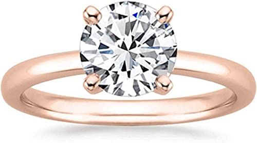 0.50 CT Round Cut Diamond Simple Solitaire Engagement Ring 14K Rose Gold Finish