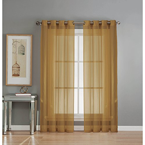 Window Elements Sheer Elegance Grommet 108 x 84  in. Curtain Panel Pair, Gold (Sheer Curtain Ideas For Living Room)