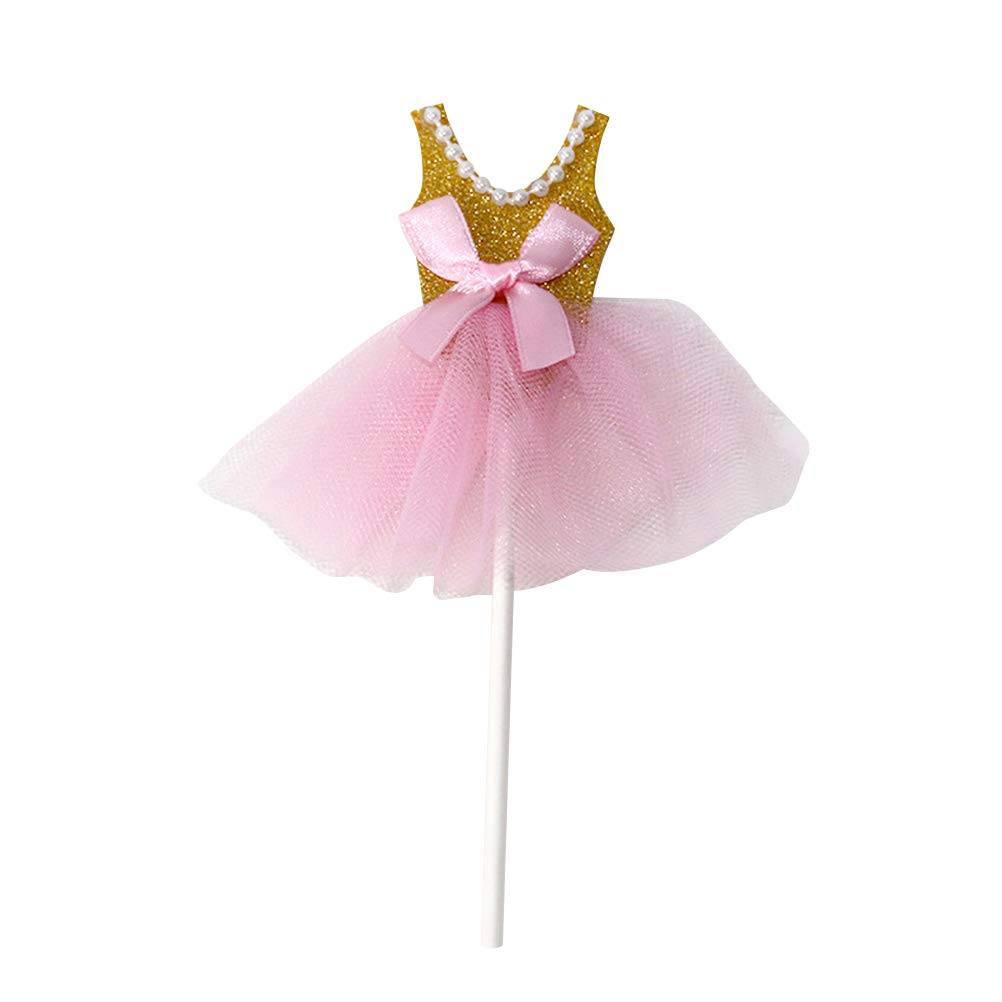 Golden Falda de Bailarina Cupcake Picks para ni/ñas Birthday Theme Party Yeahibaby Glitter Princess Tutus Dress Cake Toppers - Pack de 5