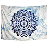 Heopapin Wall Tapestry Wall Hanging Mandala Wall Tapestry for Bedroom Bohemian Tapestry Psychedelic Tapestry Hippie Wall Blanket Indian Tapestry Dorm Home Decor (Sky blue, M)